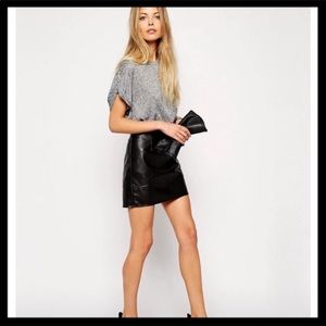 ASOS leather skirt - black (10)